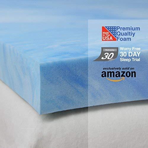 Sure2Sleep Soft-Plush 3 Pound High Density Open Cell Gel Memory Foam Mattress Topper Made in USA 2-Inch (Queen)