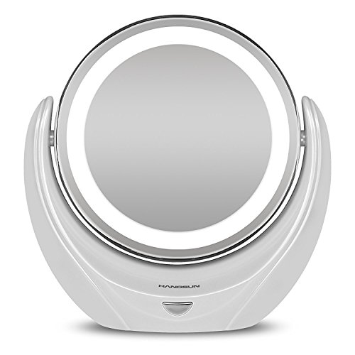 Rantizon Makeup Mirror LED Illuminated Cosmetic Mirror 1X/5X Magnification Double Face 360°Rotation Shaving Mirror , Tabletop, Bathroom, Bedroom, (Travel Lit Magnifying Mirror 5x)