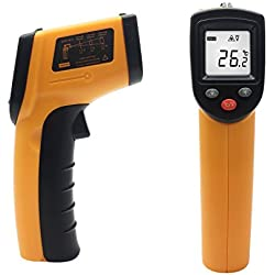 FlatLED Non-Contact Laser Infrared Thermometer (-58°F~716°F/-50°C~380°C) Digital Temperature Gun For Household Use Or Industrial Measurements Yellow