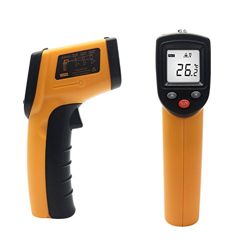 Infrared Thermometer, Temperature Gun, FlatLED Non-Contact Laser Infrared Thermometer (-58F~716F/-50C~380C) For Household Use Or Industrial Measurements Yellow