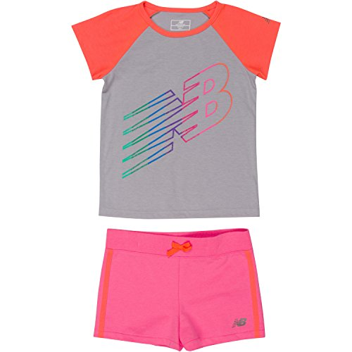 New Balance Toddler Girls' Performance Tee and Short Sets, Silver/Sunrise/Pink, 4T