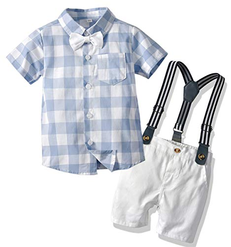 Baby Boys Summer Clothes, Short Sleeves Button Down Plaid Shirt with Bowtie + Suspender Shorts Set Summer Tuxedo Dress Outfit, 3# Blue, Tag 80 = 6-12 Months