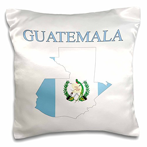 3D Rose Image of Exotic Guatemala Map in Flag Colors with Seal Pillow Case, 16
