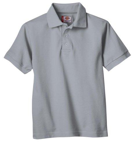 Dickies Big Boys' Short Sleeve Pique Polo Shirt, Heather Gray, Large (14/16)