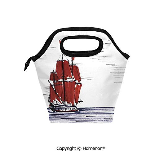 Insulated Neoprene Soft Lunch Bag Tote Handbag lunchbox,3d prited with Sailing Ship Floating on the Sea Drawing Style Maritime Theme,For School work Office Kids Lunch Box & Food Container