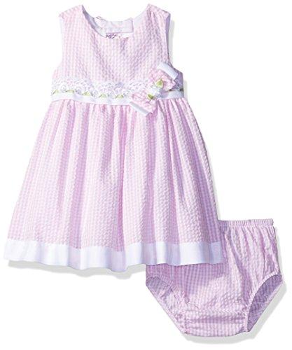 Rare Editions Baby Girls' Bow Back Seersucker Dress, Pink, 6M