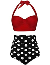 Women Vintage Polka Dot High Waisted Bathing Suits Bikini Set