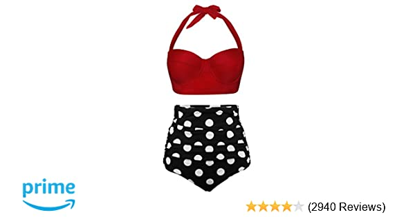 c95743a2d3ce0 Amazon.com: Angerella Women Vintage Polka Dot High Waisted Bathing Suits  Bikini Set: Clothing