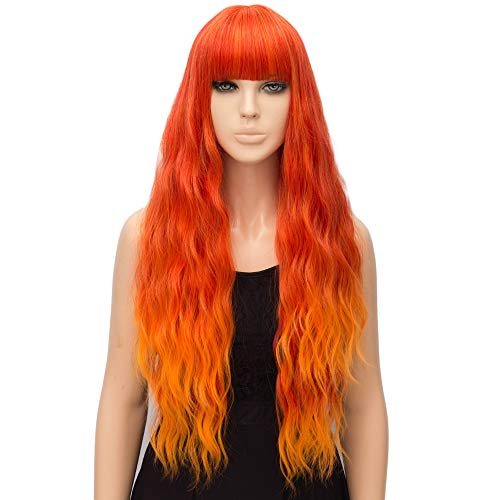 netgo Organge Fire Wig for Women Long Wavy Heat Resistant Fiber Wigs Side Bangs Cosplay Party]()