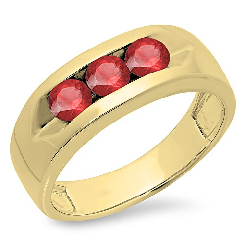 (Dazzlingrock Collection 1.10 Carat (ctw) 10K Round Ruby Men's Channel Set 3 Stone Wedding Band 1 CT, Yellow Gold, Size 10)