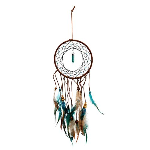 - YINASI Handmade Traditional Peacock Dream Catcher Circular Net with Agate Wedding Party Favor Bedroom Wall Ornaments (Blue)