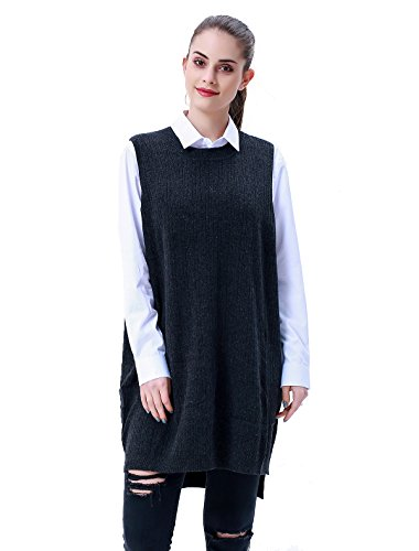60fce55257 MEEFUR Women s Wool Knitted Sweater Vest Crewneck Sleeveless Loose Pullover  Dress Autumn Mid Long Hi Low