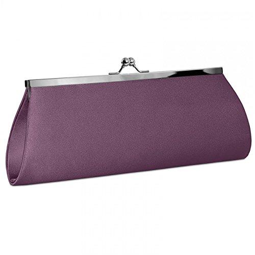 CASPAR TA309 Bolso de Mano Fiesta para Mujer / Clutch de Satén con Cierre Metálico Elegante - Varios Colores Lila