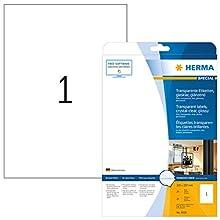 Herma 8020 - Pack de 25 etiquetas, 210 x 297 mm, transparente
