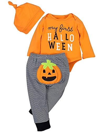 Newborn Halloween Costumes Pumpkin Pants Long Sleeve Outfits Set Baby Boys Girls Clothes My First Halloween(0-3M) Orange -