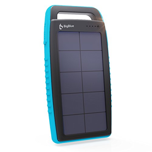 Solar Charger BigBlue 10000mAh Solar Power Bank IPX4 Waterproof Anti-Shock Dual USB Ports Emergency Solar Powered Charger with 6 LED Light Fast Charging for Cellphone Tablet and More Devices (Black) (Blue-15000mAh)
