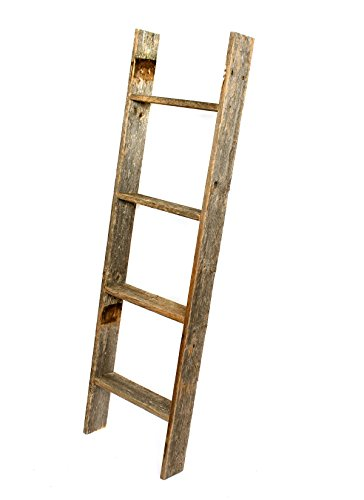 BarnwoodUSA Rustic Reclaimed Old Wooden Bookcase 4 Foot Ladder
