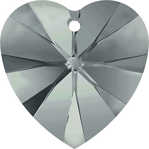 Black Diamond Briolette Earring - 6228 Swarovski Pendant Xilion Heart Black Diamond | 10mm - Pack of 4 | Small & Wholesale Packs