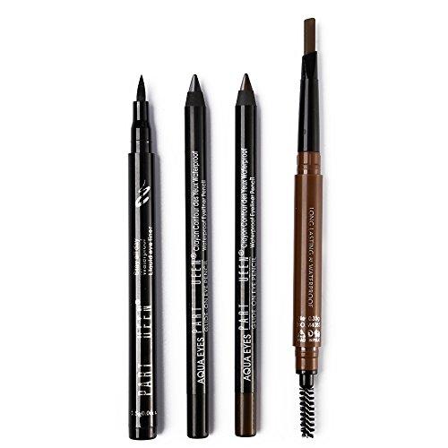 Pro Eye Makeup Set - 1 Ink Liquid Eyeliner + 2 Kohl Gel Eye Liner Pencil + 1 pcs Eyebrow Pencil with Brow Brush