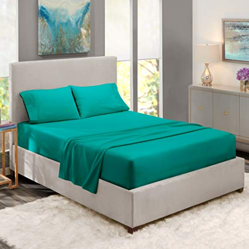 Nestl Bedding Damask Dobby Stripe 4 Piece Set - 14-16 Deep Pocket Fitted Sheet - Ultra Soft Double Brushed Microfiber Top Sheet - 2 Hypoallergenic Wrinkle Free Cooling Pillow Cases, Queen - Teal