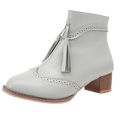Lazzboy Women Vintage Block Mid Heel Warm Lining Zipper Tassel Brogues Ankle Boots Grey