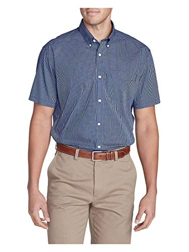 - Eddie Bauer Men's Wrinkle-Free Relaxed Fit Short-Sleeve Pinpoint Oxford Shirt - Deep Sea (Blue)