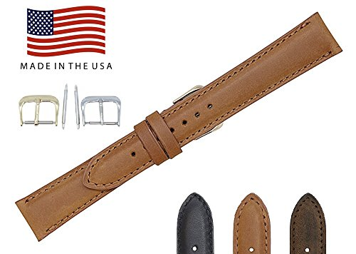 18mm Cognac Vintage Naturally Distressed Genuine Leather - Padded Stitched Watch Strap Band - Gold & Silver Buckles Included - American Factory Direct - Made in USA by Real Leather Creations FBA813