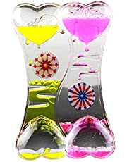 Mosichi Double Heart Liquid Motion Bubble Drip Oil Hourglass Timer Clock Kids Toy Gift Decompression Oil Spill Crystal Oil Drop Acrylic Ornaments Crafts Hourglass Student Gifts Children Toys Double Hearts
