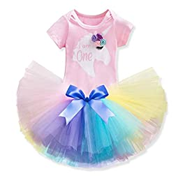 3PCS Baby Girl 1st Birthday Outfit Unicorn Romper + Ruffle Tulle Skirt + Bow Headband Party Dress Smash Cake Clothes Set