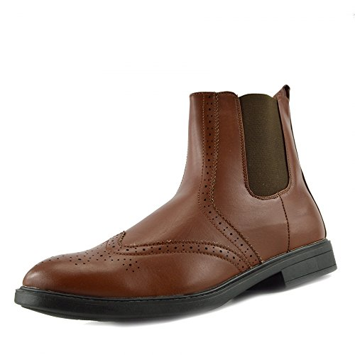 Kick Footwear - Mens Style Zip on Chelsea Dealer Gusset Ankle Black Brown Formal Boots Coffee 9EoBbC38la