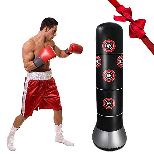 GEMGO Punching Bag, Inflatable Punching Bag for Kids 160cm Training Bag Kickboxing Bag Heavy Inflatable Free-Standing Fitness Boxing Bag Punching Dummy for Children & Adult
