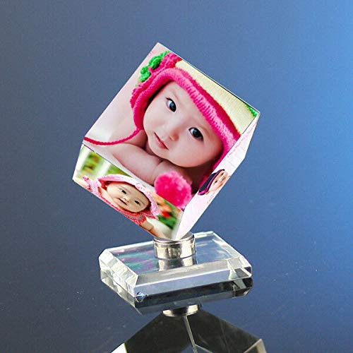FidgetKute Custom Personalized Crystal Glass Photo Rotating Cube - Wedding Birthday Xmas S (2