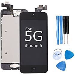 Ibaye LCD Display Touch Screen Digitizer Glass Lens Assembly Camera and Home Button Repair Replacement with Tools for iPhone 5 Black