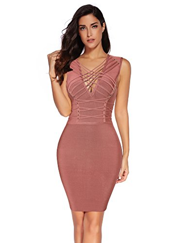 Meilun Women's Rayon Lace up Cross Criss Bodycon Bandage Dress Redberry L
