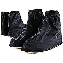 Boseen 1 Pair of Men Anti-slip Reusable Rain Shoe Covers Waterproof Shoes Overshoes Boot Gear (Black) (XXL)