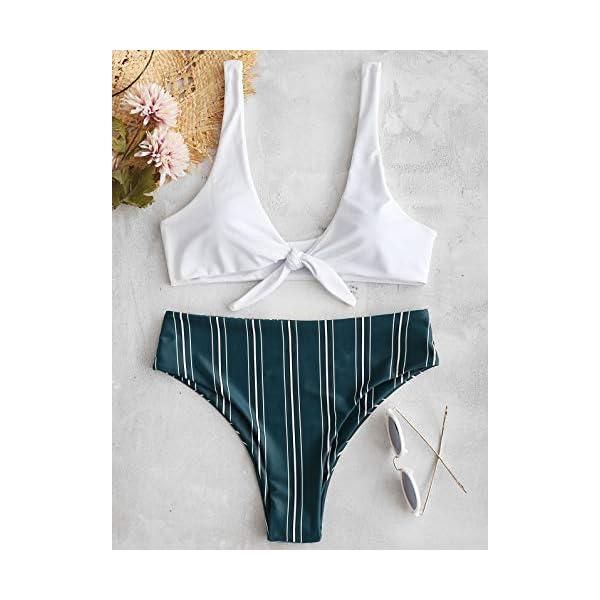ZAFUL Costumi da Bagno Donna in Due Pezzi Bikini Set Imbottito Estate Slip Brasiliano Annodato a Righe 2 spesavip
