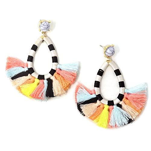 Honbay Bohemian Tassel Earrings Fashion Fringe Drop Earrings Chic Dangle Earrings