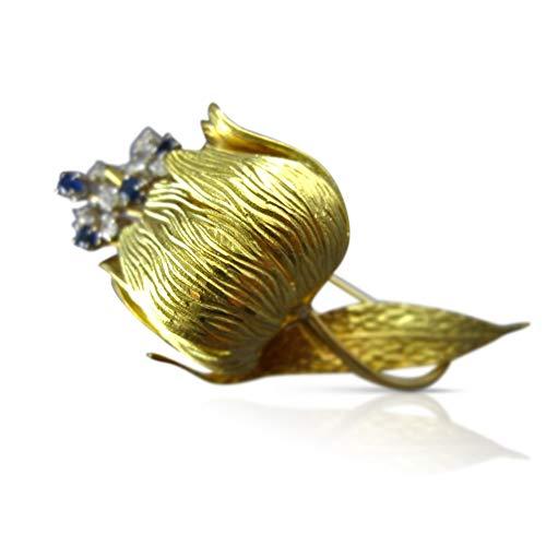 Milano Jewelers Large Diamond & Sapphire 18K Yellow Gold Flower Filigree PIN Brooch ()