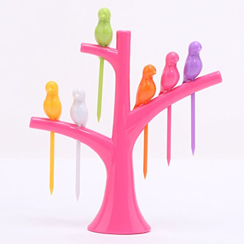 Musiclily Birds Tree Appetizer Cocktail and Fruit Forks Holder Set for Lunch Party Bento Dessert Snack Salad for Decoration,Rose Tree( 6 (Bird Fork)