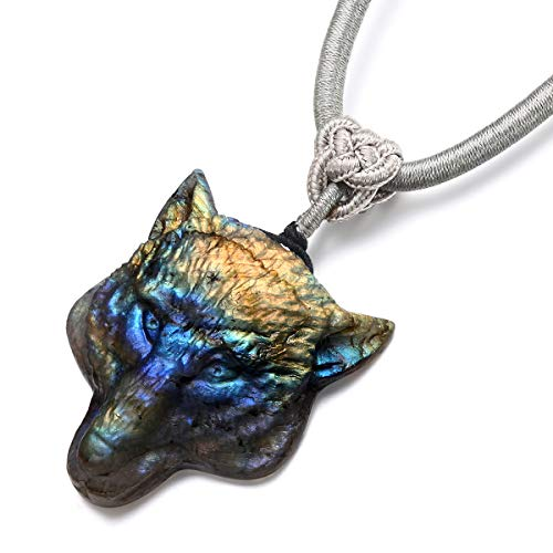NATURSTON Gemstone's American Wolf Head Carving Pendant Necklace Natural Labradorite Mens Jewelry (Multicolor) ()