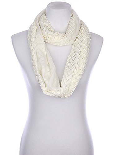 Destinees White Chevron Pattern Crochet Infinity Scarf At Amazon