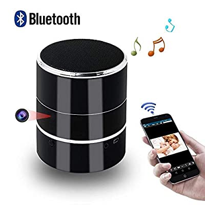 WiFi Hidden Spy Camera HD 1080P - Bluetooth Music Player - Wireless Stereo Speaker Spy Cam - Mini Nanny Cameras - Motion Detection Alarm - Up to 128G - Support Left/Right Rotate 180° - Android/iOS APP