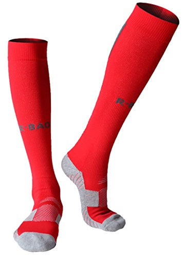 Huathy Women Men's Professional Compression Football Socks Cushioned Graduated Support Calf Stockings (Shoe:6-10, Red)