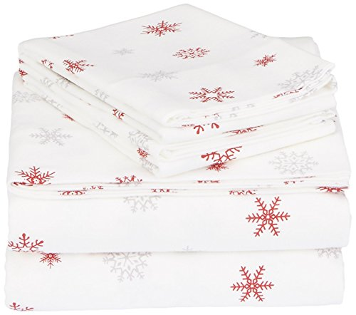 - Pinzon Cotton Flannel Bed Sheet Set - California King, Falling Snowflake Merlot