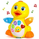 Yiosion Musical Flapping Yellow Duck Interactive Action Educational Learning Walking Light Up Dancing Toy for 1 Year Old...