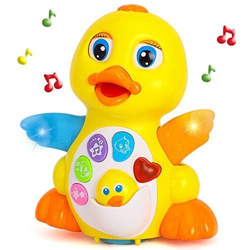 Yiosion Musical Flapping Yellow Duck Interactive Action Educational Learning Walking Light Up Dancing Toy for 1 Year Old Baby Toddler Infant