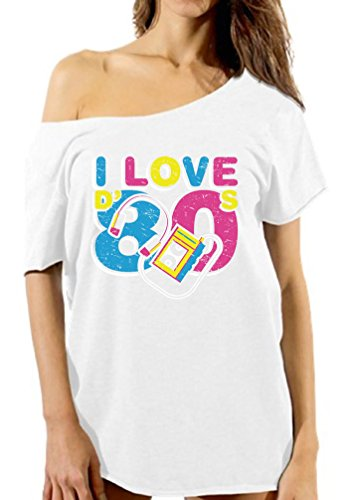 Vizor Women's I Love The 80's Off Shoulder T Shirts Tops 80s Party 80s Costume 80s Disco White M -