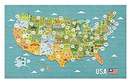 Amazon.com: Lunarable USA Doormat, Cartoon Style Map of United ...