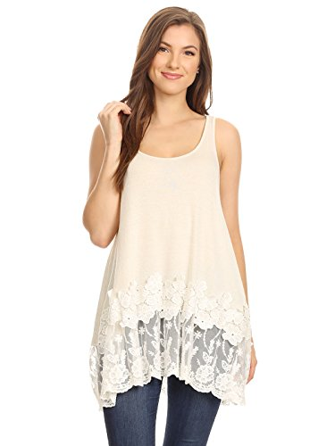 Anna-Kaci Casual Beige Vintage Floral Lace Trim Detail Loose Fitting Long Tunic Tank Top,Beige,Medium
