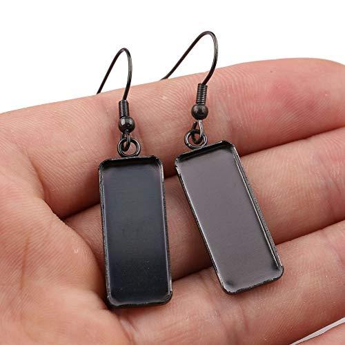 SHUNAE 20pcs 10x25mm Dia Stainless Steel Black Plated cabochon Earring Base Blank Settings Rectangle Earrings Bezel Trays
